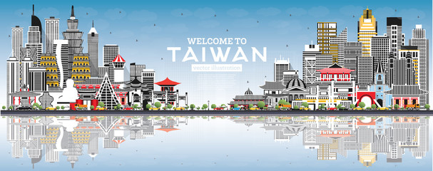 Wall Mural - Welcome to Taiwan City Skyline with Gray Buildings, Blue Sky and Reflections.