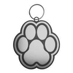 dog paw key chain silver with ring, 3d render, 3d illustration