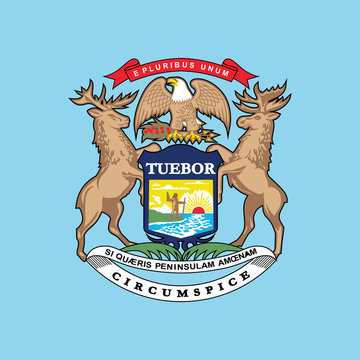 Coat of arms of the state of Michigan , Michigan flag design   vector eps format, suitable for your design needs, logo, illustration, animation,   etc.