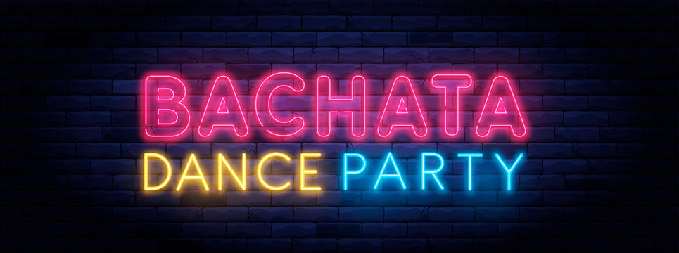 Bachata dance party colorful neon banner