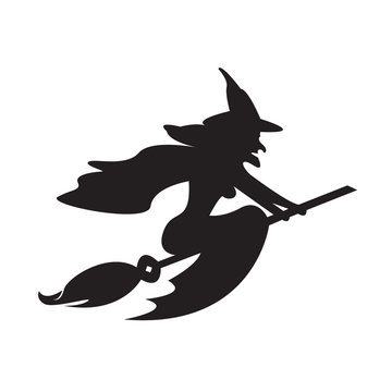 Halloween witch on a broomstick. Vector illustration
