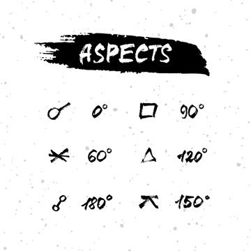 Vector handdrawn brush ink illustration set of astrological major and minor aspects. Collection of horoscope, magic symbols, icons.  Astrology concept for occult design.