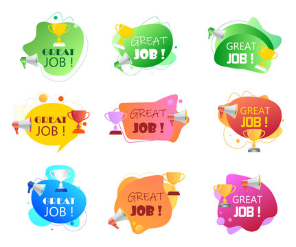 Megaphone with Great job speech bubble. Loudspeaker and prize for successful employees. Set of fluid colorful banner vector illustration for business, marketing