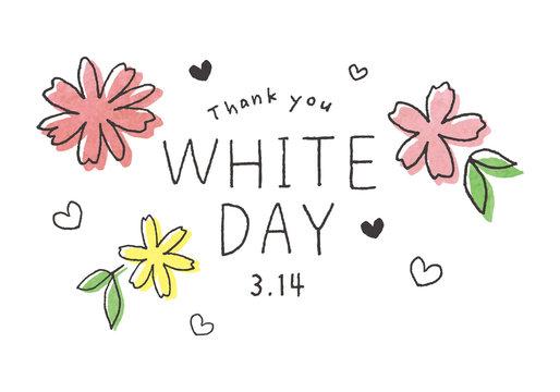 ホワイトデーの手描き文字と花イラスト
