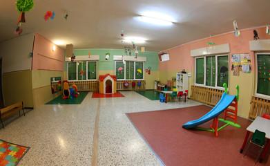 inside a wide hall of a kindergarten
