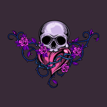 Skull and heart with floral arrangement. Colorful vector illustration of human skull, heart with crown of thorns and roses ornament in engraving technique. Good for stickers, t-shirt prints, icons.