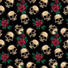 Human skulls with roses seamless pattern. Vector illustration of cute skulls and floral arrangement of red roses and leaves in engraving technique isolated on black background.