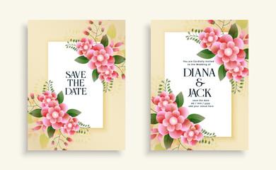 beautiful wedding floral invitation card design template