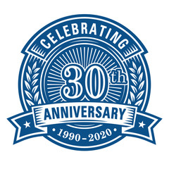 30 years of celebrations design template. 30th anniversary logo. Vector and illustrations.