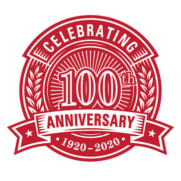 100 years of celebrations design template. 100th anniversary logo. Vector and illustrations.