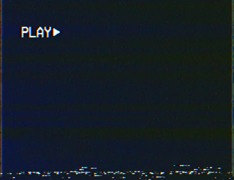 Blank vhs screen with play symbol background