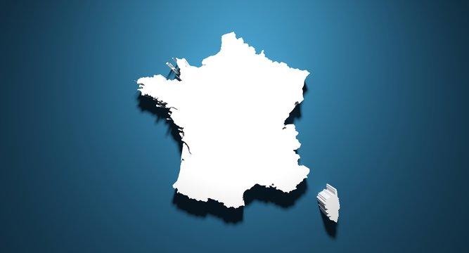 Carte de France en 3D sur fond bleu