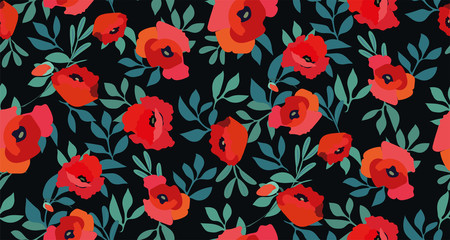 Seamless pattern with red poppy flowers and leaves on a black background. Floral print. Vector hand-drawn illustration.