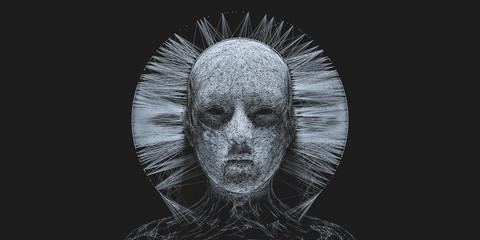 Concept of mistic mask or face. 3d illustration Fototapete