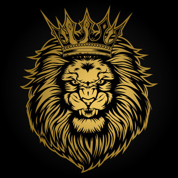 Lion head angry Gold on black background vector illustration