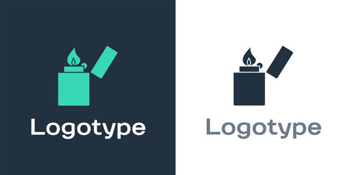 Logotype Lighter icon isolated on white background. Logo design template element. Vector Illustration
