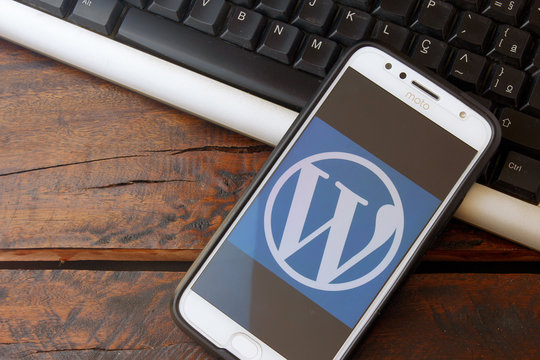 Rio de Janeiro, Brazil - February 14, 2020: WordPress logo on the smartphone screen. It is a system aimed at creating websites and blogs.