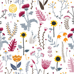 Wall Mural - Vector nature seamless background with hand drawn wild herbs, flowers and leaves on white. Doodle style floral illustration