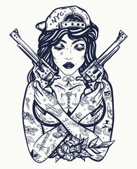 Bad girl. Chicano art. Criminal street culture. Favela style. Swag. Hip-hop and rap lifestyle. Cool gangster tattooed woman in baseball cap