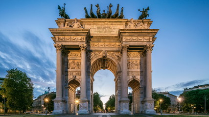 Arch of Peace in Simplon Square day to night timelapse. It is a neoclassical triumph arch Wall mural