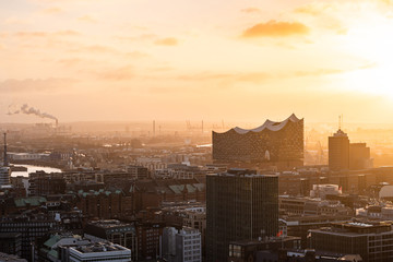 Aerial view of the city centre and town hall, Hamburg, Germany