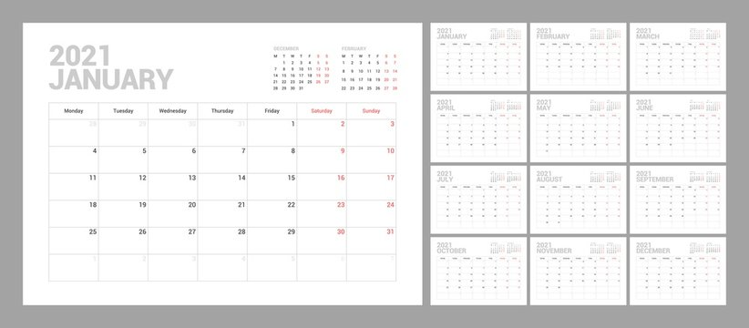 Wall calendar template for 2021 year. Planner diary in a minimalist style. Week Starts on Monday. Set of 12 Months. Ready for print.