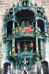 MUNICH, GERMANY – September 19 2019: Chimes at the town hall in Munich