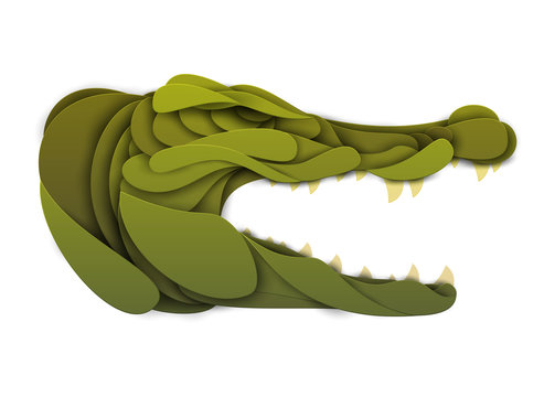 Abstract crocodile head isolated on white background. Creative 3d concept in craft paper cut style. Colorful minimal design character. Original vector cartoon illustration.