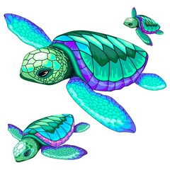 Tuinposter Draw Sea Turtles Dance Oceanlife Vector Illustration