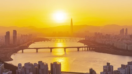 Papier Peint - 4k Time lapse Sunrise of Seoul City Skyline,South Korea
