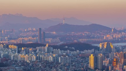 Papier Peint - 4k Time lapse Sunset of Seoul City Skyline,South Korea
