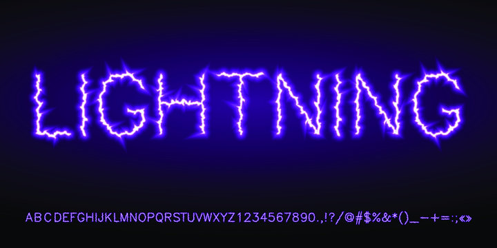 light violet blue neon electric lightning font set