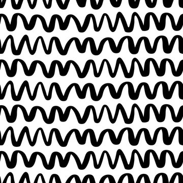 Seamless parallel lines waves pattern. Wavy zigzag background. Hand drawn abstract wallpaper for your design. EPS 8