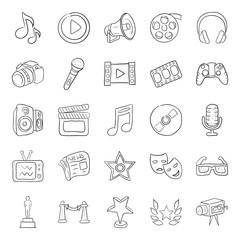 Cinema Accessories Doodle Vectors Pack