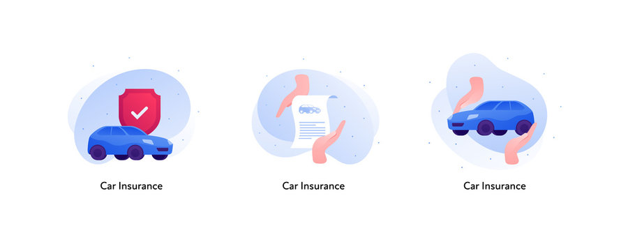 Insurance color icon collection. Car protection concept. Vector flat Illustration set. Car with red shield, paper document and hands holding car. Design business element for banner, poster, web, ui.
