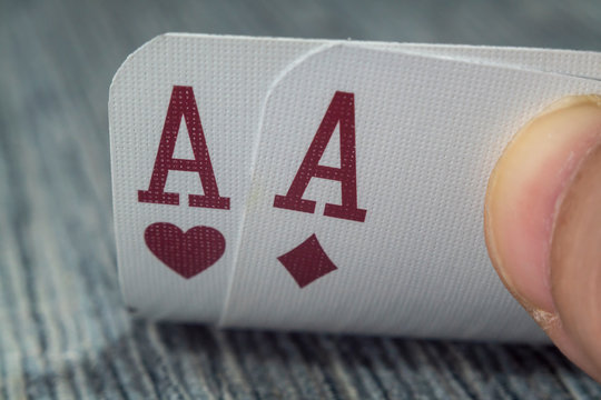 Macro shot of playing cards on a casino table