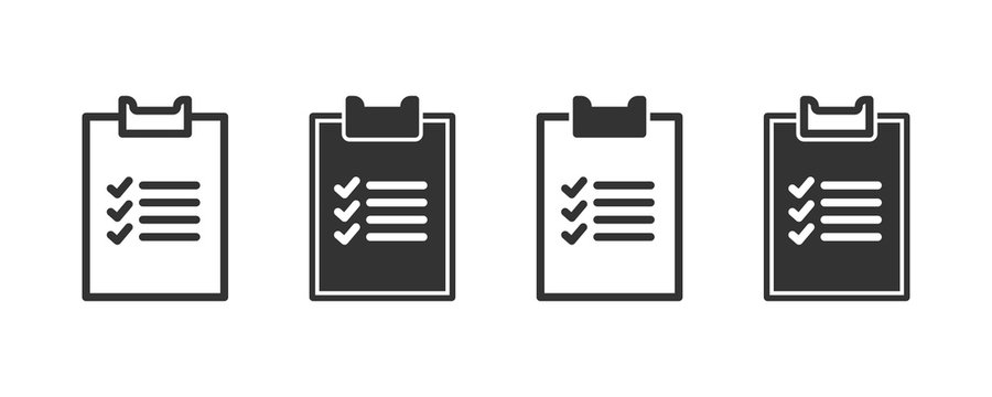 Checklist icons in four different versions in a flat design