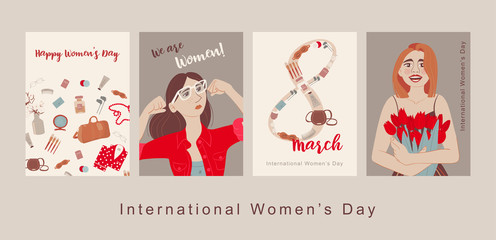 Happy International Women's Day. Greeting card for women or Mother's Day. Cute card, banner, poster for the holiday of women's day on March 8. Feminisms concept template design. Vector template