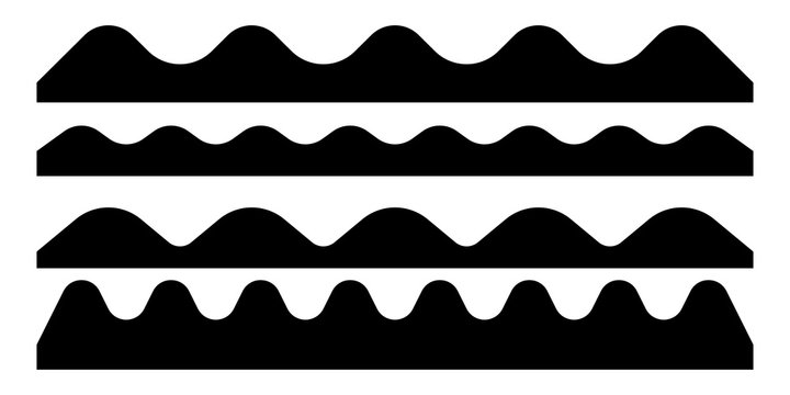 Set of black wave silhouette isolated on white background. Vector illustration