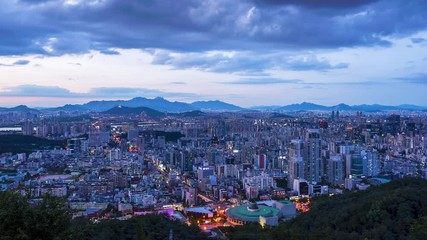 Papier Peint - 4k Time lapse of Seoul City Skyline at Gangnam City,South Korea