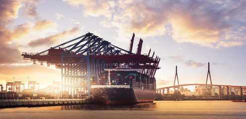 Container Schiff  Hamburg Hafen Fototapete