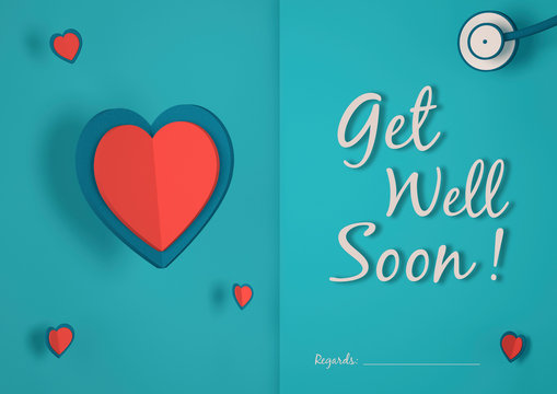 Greeting card for a sick person to get well soon