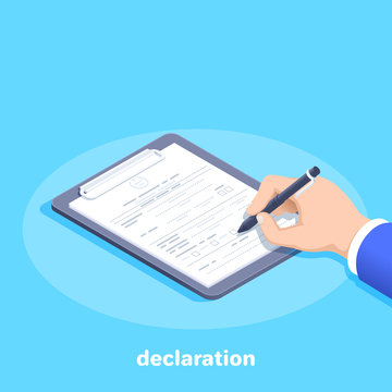 isometric vector image on a blue background, a man in a business suit with a ballpoint pen fills out a declaration or document form lying on a tablet
