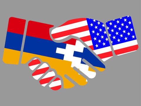 Artsakh Nagorno Karabakh Republic and USA flags Handshake vector