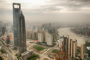 Foto auf Leinwand Shanghai Bird view at Shanghai skyline in 2008 when highest towers were still under construction.