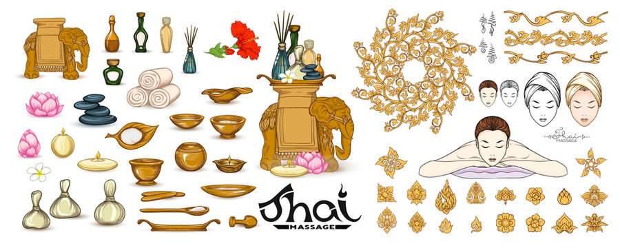 Traditional thai massage. Elements for design, logo, symbols. Clip art, set of elements for design. Vector illustration