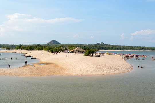 Alter do Chão, Pará, Santarém - State of Pará, Brazil, november 2019. A beautiful and famous river beach, these waters go through the Amazonian forest and create amazing landscapes