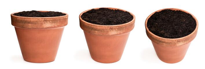 Obraz Set of old ceramic flower pot with soil isolated on white - fototapety do salonu