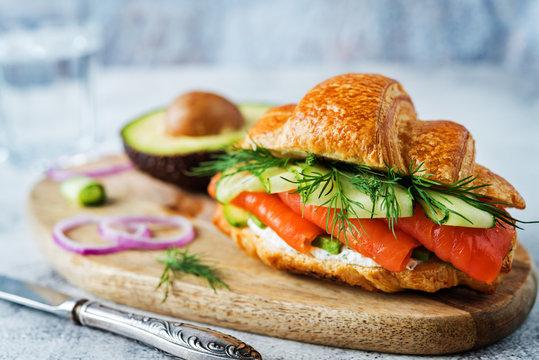 Smoked salmon ricotta cheese cucumber sandwich