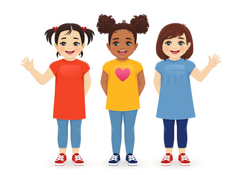 Multiethnic girls friends. Three different female kid faces. Asian, african and caucasian standing isolated vector illustration